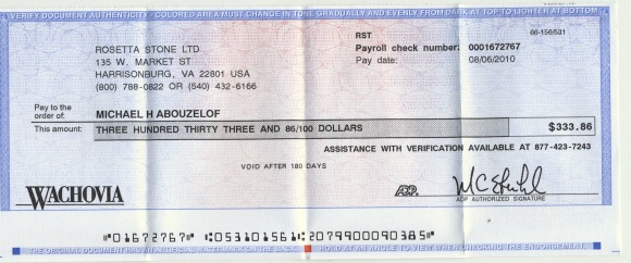 Slackest Check I Ever Done Received